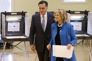 Mitt and Ann Romney voting in Belmont, MA